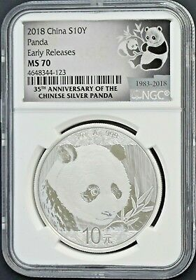 2018 China Silver Panda S10Y Coin 35th Anniversary Early Release NGC MS 70