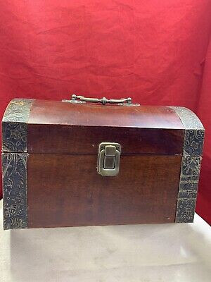 Treasure Chest Wood Brass Pirate Jewelry Vintage Style Box Coffin Shape Case