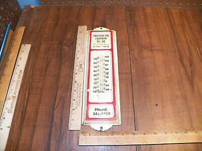 Vintage Tin Advertising Thermometer - ANDERSEN FIRE EQUIPMENT CO. - OMAHA, NEBR.