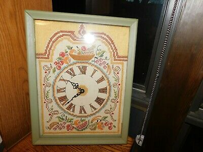 Embroidered Fruit Mantle or Wall Clock Vintage Hand Sewn Cross Stitch Sampler