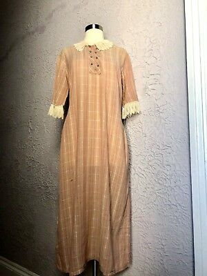 1920's Vintage Pink Plaid Lace Flapper Drop Waist Dress sm/med.
