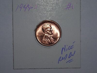 wheat penny 1944S NICE RED BU 1944-S LINCOLN CENT LOT #1 SHARP UNC RED LUSTER