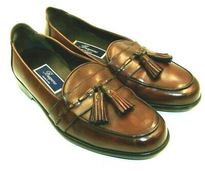 58bebc87068 Bragano Italy 9 M Tassel Brown Loafers Mens Shoes English Calf Leather Sole