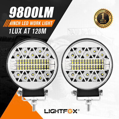 Pair 4inch LED Driving Lights Work Spot Flood Combo Cree Round Offroad 4WD