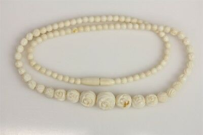 """Art Deco  Carved Flower Bead White Necklace  -18"""" Beautiful Design -N3389"""