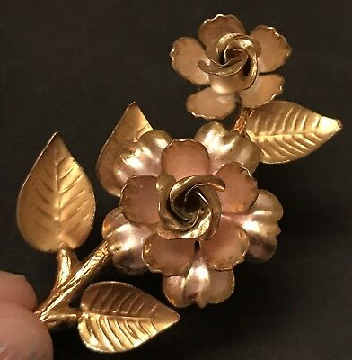 Vintage Gold Brooch Pin Estate Enamel Antique Flower Floral CZECHOSLOVAKIA stamp