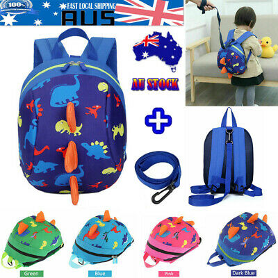 Toddler Kids Baby Animal Cartoon Backpack Schoolbag Dinosaur With Safety Harness