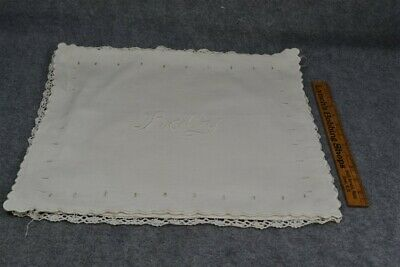 antique baby pillow case white cotton embroidered original handmade vg
