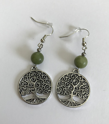 Tree Of Life and Connemara Marble Earrings (Handmade in Ireland)