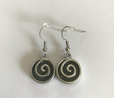 Connemara Marble Inlaid Spiral Earrings (Handmade in Ireland)