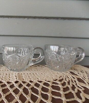Set of 2 Vintage Clear Glass Punch Cups with Arches and Daisy Button Pattern