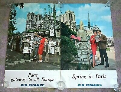 2 ORIGINAL VINTAGE 1960s AIR FRANCE Airline Travel Posters