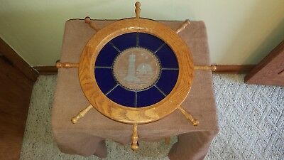 Stained Glass + Wood Nautical Ships Wheel Helm Lighthouse Sailboat Wall Hanger