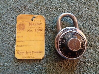Vintage No. 1500 Master Lock Champ Padlock with Original Tag and Combo
