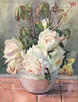 MARIE CHAUTARD-CARREAU - FINE EARLY 1900's FRENCH IMPRESSIONIST - ROSES IN BOWL