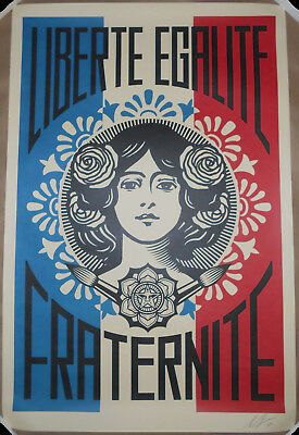 SIGNED Shepard Fairey Liberte Egalite Fraternite Offset Lithograph Print Poster