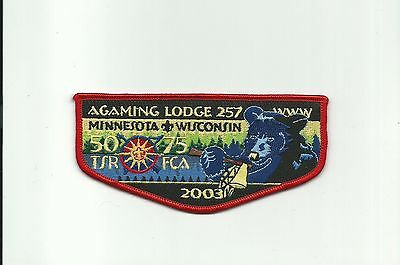 SCOUT BSA 1990 OA AGAMING LODGE 257 75TH ANNIVERSARY JACKET PATCH INDIANHEAD CNL