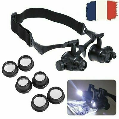 10X 15X 20X 25X magnifier Loupe Réparation de montre Eyewear Lunette LED Light