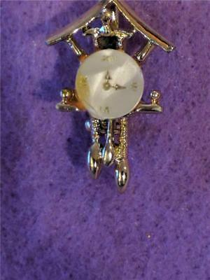 Gold Toned Costume Jewelry Pin Brooches FIGURAL Cuckoo Clock Pearly Clock Face