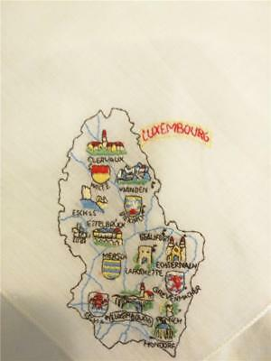 Vintage Souvenir Handkerchief Luxembourg Embroidered- Lovely & Detailed