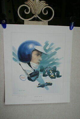 Jimmy Clark Lotus F1 Indy Composite Artwork Signed By Graham Turner Color Image