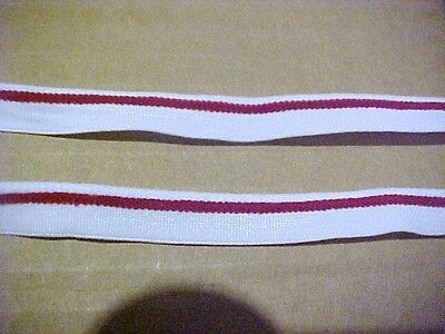 ELASTIC 7/16 WHITE with RED Piping Elastic 5 yds. Lingerie Doll Headbands USA