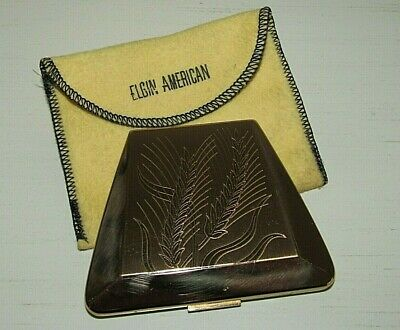 Vintage Elgin American Wheat Etched Bronzy Gold Compact Nice/Clean - USA Made