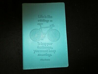 Gibson journal turquoise leatherette cover Einstein quote riding a bicycle