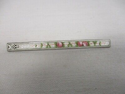"Antique Sterling Silver Guilloche Enamel Pink Roses 3 1/4"" Bar Pin"