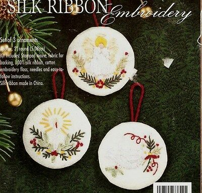 "Vintage Bucilla Silk Ribbon Embroidery ""Angel Delight"" Christmas Ornaments Kit"