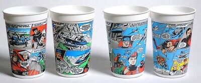 P0137. Lot of 4: CAPTAIN SCARLET PLASTIC CUPS Collectible From Pizza Hut (1993)