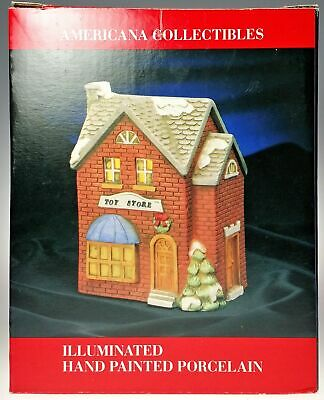 Holiday Village Toy Store Hand Painted Bisque Porcelain Christmas