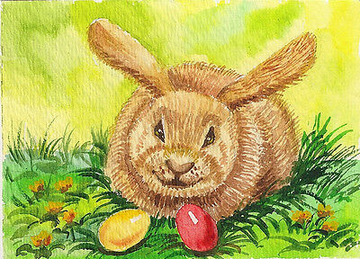 Aceo Print Of Painting Ryta  Rabbit Bunny Easter Folk Vintage Style Whimsical