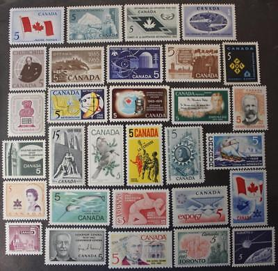 Canada 1965, 1966, 1967 & 1968 Commemorative Stamp Year Sets, MNH OG