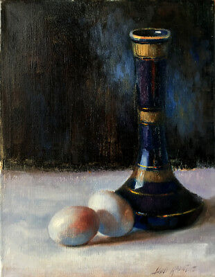 Eggs with Porcelain Vase 14x11 in. Original Oil on canvas HALL GROAT II