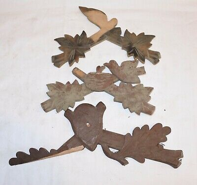 Lot of 3 Vintage Wooden Leaves Birds Cuckoo Clock Parts Top Topper Trim AS IS !