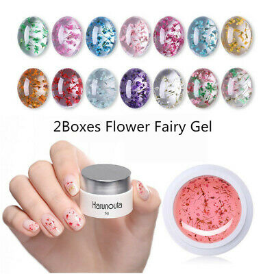 Harunouta 2 Pcs/Set 5G Natural Flower Fairy UV Gel Nail Polish Soak Off Gel DIY