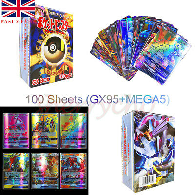100 PCS Pokemon Card 95GX+5MEGA Flash Trading Cards Bundle Kid Christmas Toy