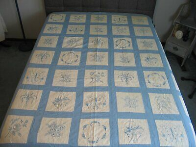 Antique Embroidered Quilt Bluework Quilt Circa 1800s Victorian Hand Embroidery