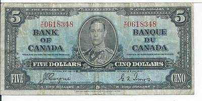 1937 Bank of Canada YC 0618348 Pick 58e Currency Note #348