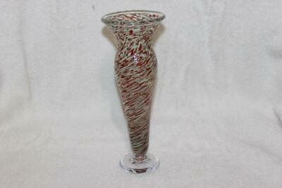 """Signed 2001 Art Glass Hand Blown Swirl Bud Vase Footed Red Swirl 9.25"""" X 3 5/8"""""""