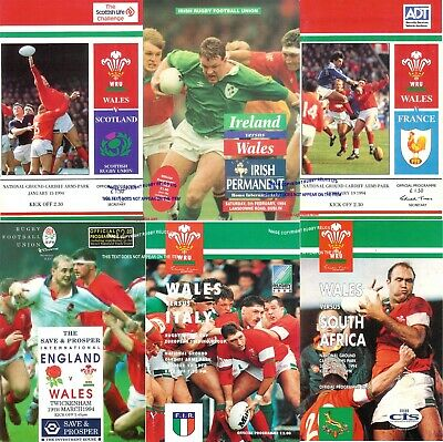1994 Wales Five Nations Championship Season Programme Set + Italy & South Africa