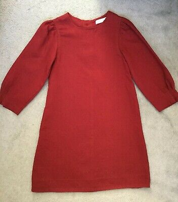 ZARA KIDS BURGUNDY A-LINE DRESS WITH 3/4 SLEEVES -PLEATS ALONG EDGES- 11-12y NEW
