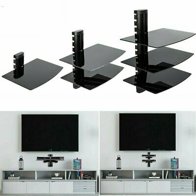 1-3 Tier Black Floating DVD Player Glass Shelf For Game Console Sky Box PS4 Xbox