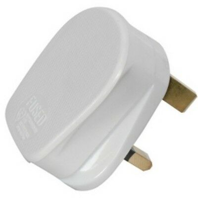 100 x UK 13A PLUG TOP MAINS 10 AMP WHITE 3 PIN  -   10A FUSE FITTED