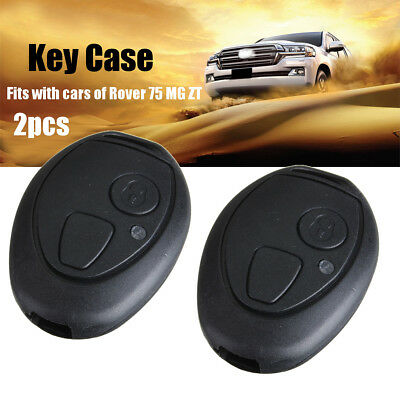 Pair 2 Button Remote Key Fob Case Shell Replacement Cover For Rover 75 MG ZT -