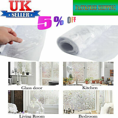 UK Window Film Sticker Static Decor Privacy Frosted Stained Glass 100X45cm-ME87