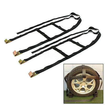2x Trailer Car Vehicle Recovery Ratchet Lashing Tie Down Straps Tow Dolly Wheel