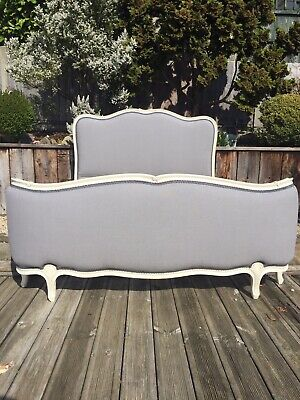 Antique French Double Corbeille Bed Frame Grey Linen Refurbished*courier*