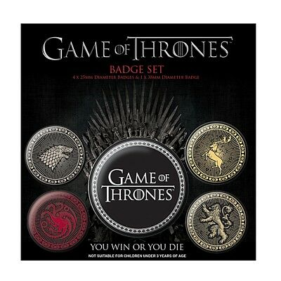 Genuine HBO Game of Thrones Four Great Houses 5 Piece Badge Set Button Badges